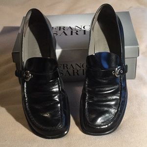Franco Sarto Black Heeled Loafers